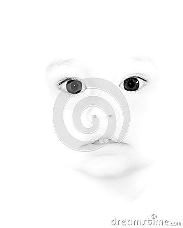 Cute child with big dark eyes in high key