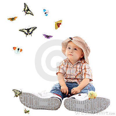 Cute child with butterfly