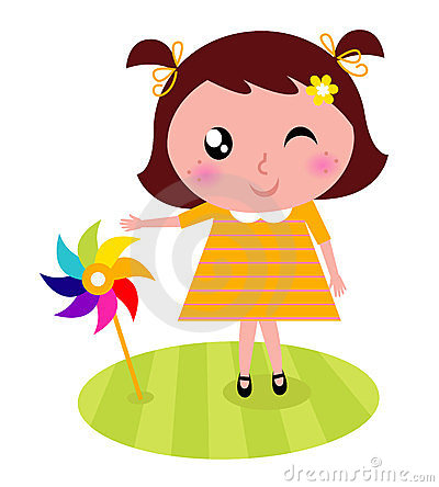 Cute child with colorful windmill