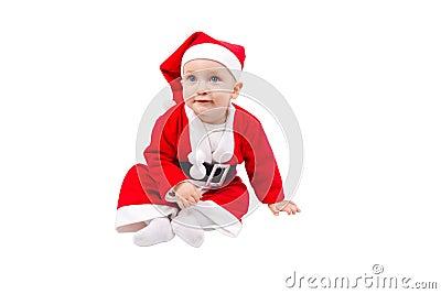 Cute child dressed as Santa Claus