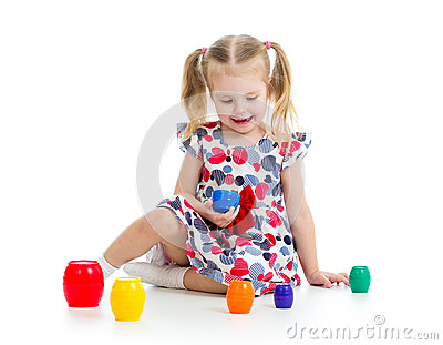 Cute child girl playing
