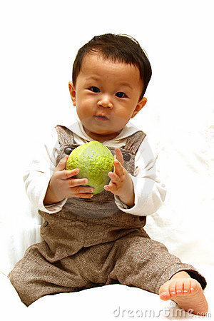 Cute Child with guava