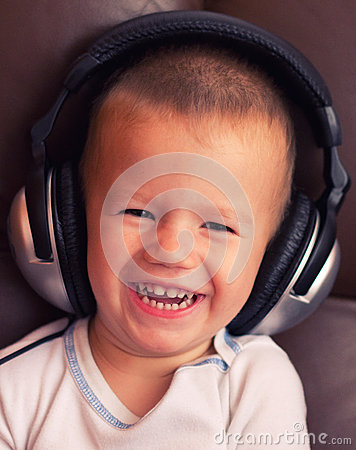Cute child with headphone