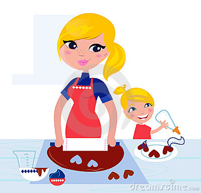 Cute Child helping her Mother with baking