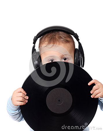 Cute child with music disk