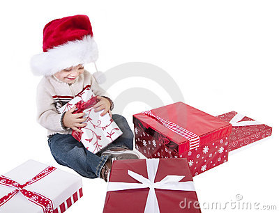 Cute Child Opening Christmas Presents