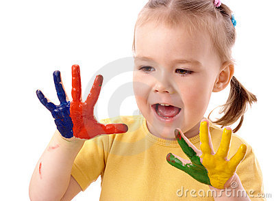 Cute child with painted hands