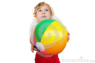 Cute Child playing with ball
