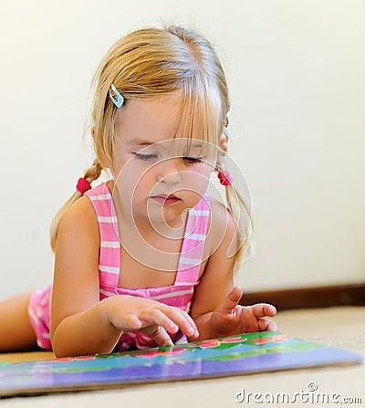 Cute child reading