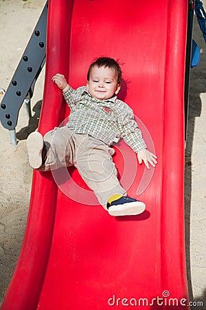 Cute child on slide