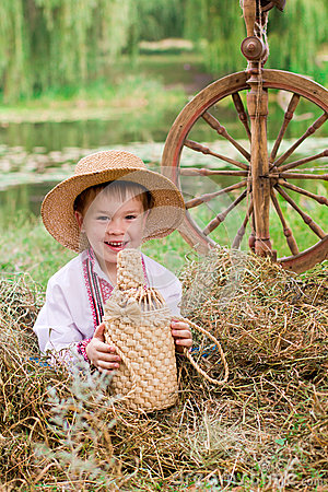 Cute child in traditional eastern european clothes