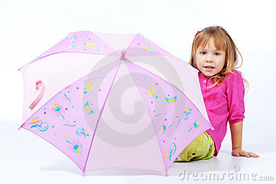 Cute child with umbrella