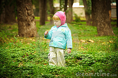 Cute child walking in autumn park