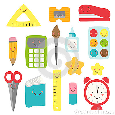 Free Cute Childish Back To School Supplies As Smiling Cartoon Characters Royalty Free Stock Images - 93889439
