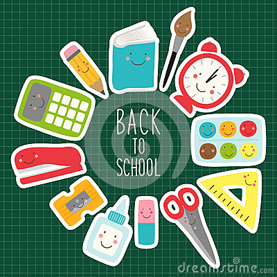 Free Cute Childish Back To School Supplies As Smiling Cartoon Characters Stock Image - 93889571