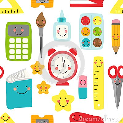 Free Cute Childish Seamless Pattern Back To School Supplies As Smiling Cartoon Characters Stock Photo - 114336150