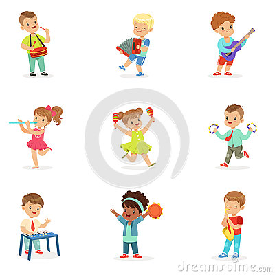 Cute children dancing and playing musical instruments, set for label design. Cartoon detailed colorful Illustrations Vector Illustration