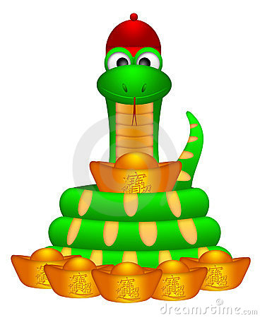 Cute Chinese New Year Snake with Gold Money