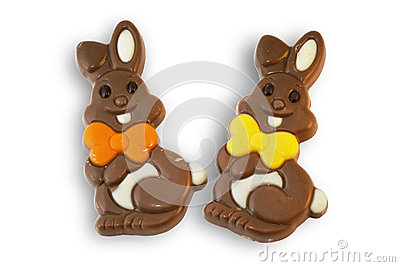 Cute chocolate Easter bunnies