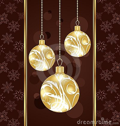 Cute Christmas card with gold balls