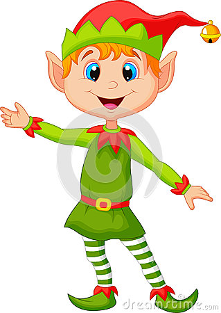 Cute christmas elf cartoon presenting Vector Illustration