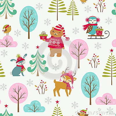 Free Cute Christmas Forest Pattern Royalty Free Stock Photography - 43464317