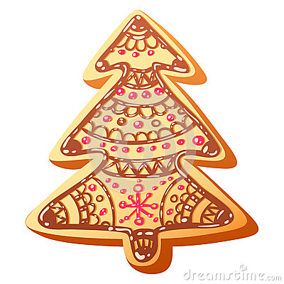 Cute christmas gingerbread cookie isolated