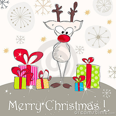 Cute Christmas greeting card with reindeer