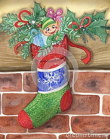 Cute Santas little elf in a stocking
