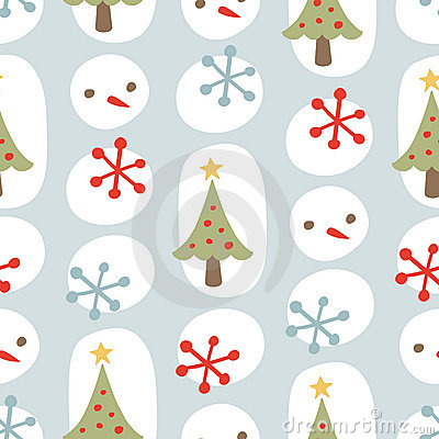 Cute Christmas Seamless Background Pattern Blue