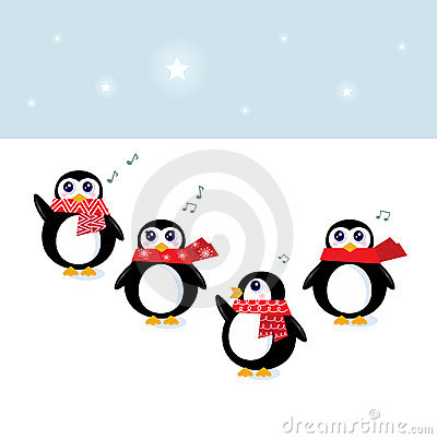 Cute christmas singing Penguins
