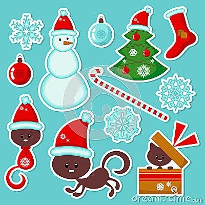 Cute Christmas stickers set