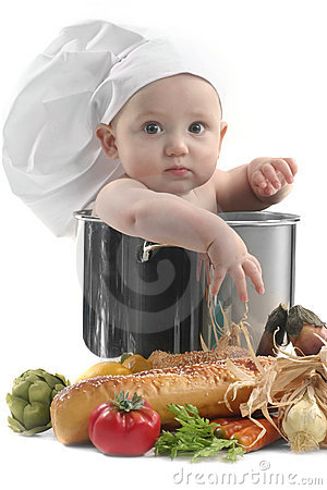 Cute Chubby Baby Chef in a Cooking Pot