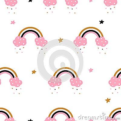Cute, cloud, rainbow - seamless pattern. Idea for print t-shirt. Vector Illustration