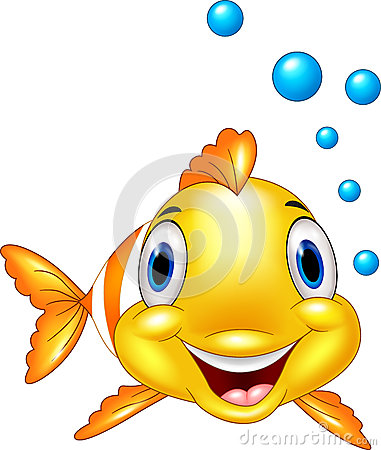 Cute clown fish cartoon underwater and bubble Vector Illustration