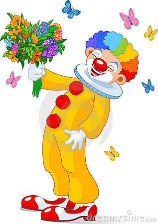 Cute Clown with flowers