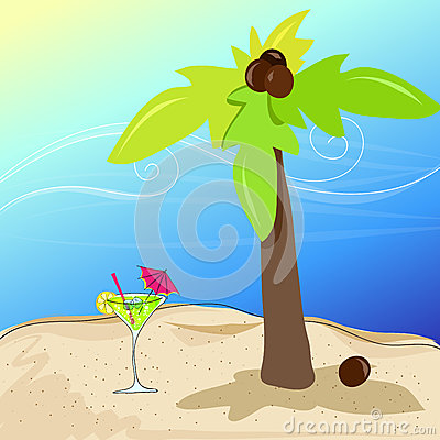 Cute cocktail glass on summer seashore