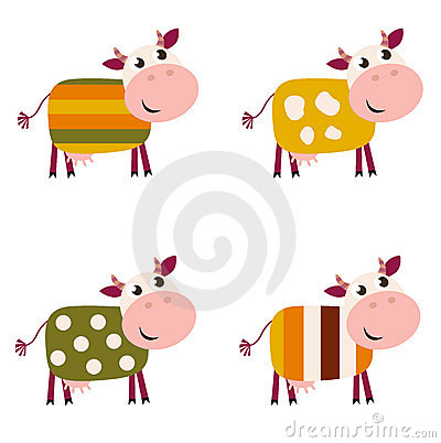 Cute color pattern Cows collection.