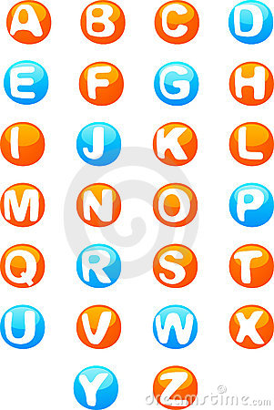 Cute colored 3d alphabet Vector Illustration