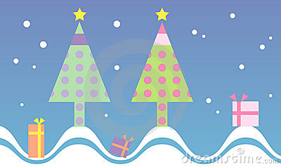 Cute and colorful christmas tree background