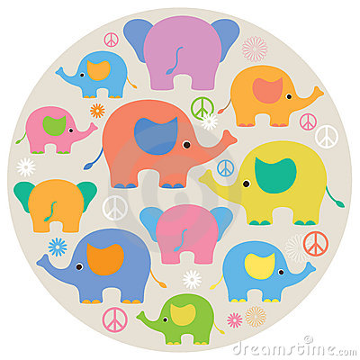 Cute Colorful Elephants