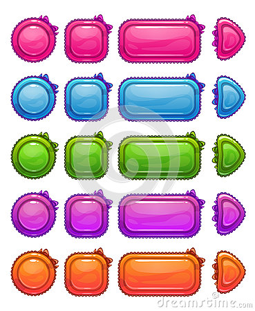 Free Cute Colorful Glossy Girlie Buttons Royalty Free Stock Image - 68384576