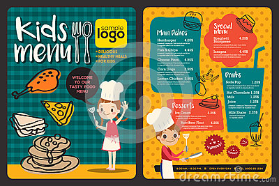 Cute Colorful Kids Meal Menu Template Vector Illustration