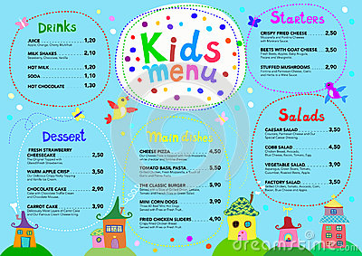 Cute Colorful Meal Kids Menu Template With Cute Little Sweet Houses ...