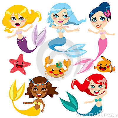 Free Cute Colorful Mermaids Royalty Free Stock Image - 26316506