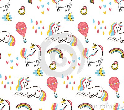 Cute colorful unicorn seamless pattern Stock Photo