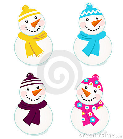 Cute colorful vector snowmen collection.