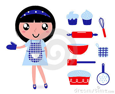 Cute cooking girl with accessories