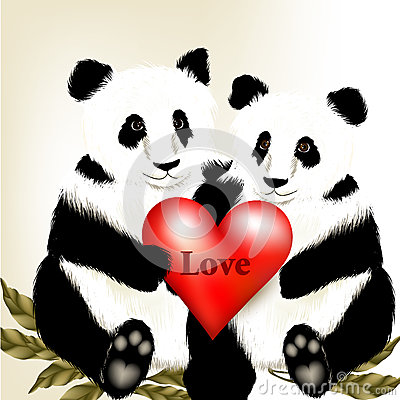Cute Couple Of Cartoon Panda Bears Holding Big Red Heart ...