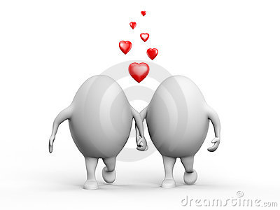 Cute Couple of Egghead Characters in Love